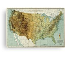 Vintage United States Physical Features Map (1915) Canvas Print