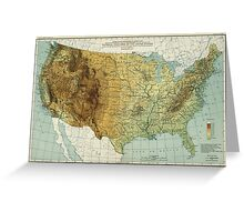 Vintage United States Physical Features Map (1915) Greeting Card