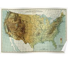 Vintage United States Physical Features Map (1915) Poster