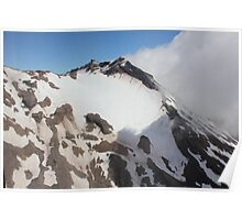 Snow capped mountain near Lake Taupo, North Island, New Zealand Poster
