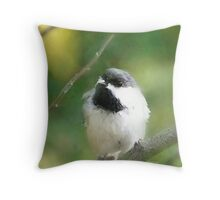 Resting Chickadee #2 Throw Pillow