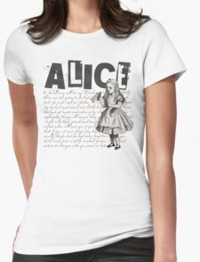 Alice In Wonderland with Text Womens Fitted T-Shirt