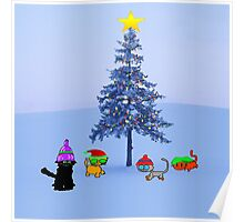 Four Cat By A Christmas Tree Poster