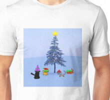 Four Cat By A Christmas Tree Unisex T-Shirt