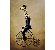 Penny-farthing Giraffe (Vintage Background) Photographic Print