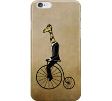 Penny-farthing Giraffe (Vintage Background) iPhone Case/Skin