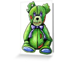 Green Zombie Bear Greeting Card