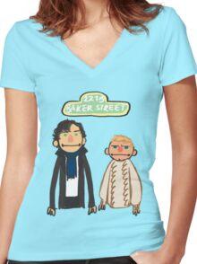 Sherlockesame Street Women's Fitted V-Neck T-Shirt