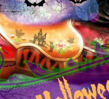 Happy Halloween Carousel horse haunted Merry-go-round Pony Sticker