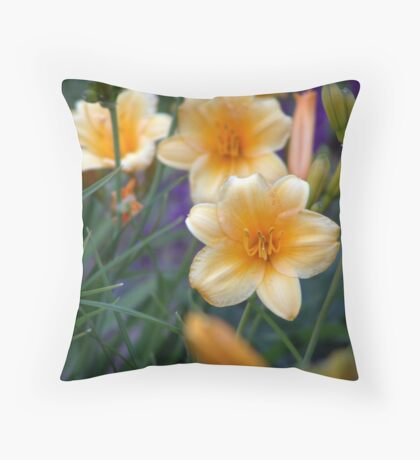Light yellow day lilies. Throw Pillow