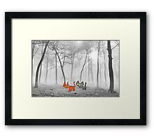 Two Cats Have Fun In The Winter Framed Print