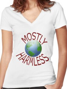 mostly harmless Women's Fitted V-Neck T-Shirt