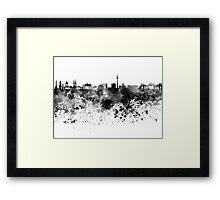 Berlin skyline in black watercolor Framed Print