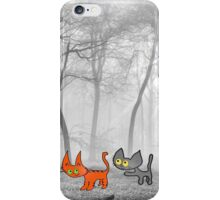 Two Cats Have Fun In The Winter iPhone Case/Skin