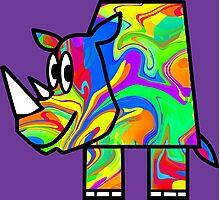 Colorful Rhino 2 Photographic Print