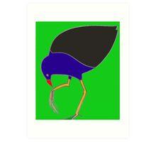 Pukeko eating from foot - green Art Print