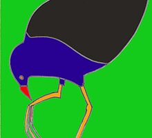 Pukeko eating from foot - green by erincox