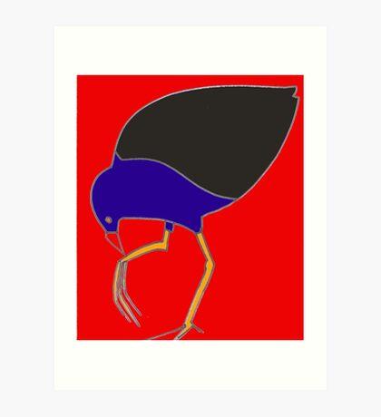 Pukeko eating from foot - red Art Print