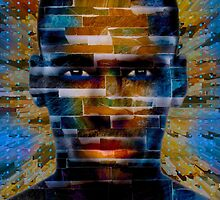 African male face on 3D textured background by Bruno Beach