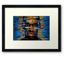 African male face on 3D textured background Framed Print