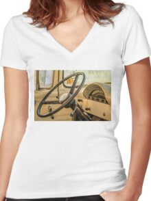 '56 Ford F100 Interior Women's Fitted V-Neck T-Shirt