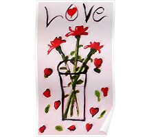 Love and Roses, watercolor Poster