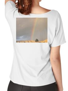 SUN LIGHTS UP MOUNTAIN SHOWING RAINBOW AND CLOUDS Women's Relaxed Fit T-Shirt