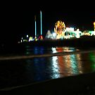 The Steel Pier Lights Reflections on the Water On the Beach, Atlantic City, NJ by Jane Neill-Hancock