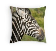 Profile of young zebra Throw Pillow