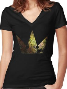 Kingdom Hearts Crown grunge universe Women's Fitted V-Neck T-Shirt