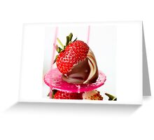Single chocolate dipped strawberry Greeting Card
