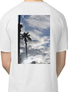 PALM TREE SILHOUETTED AGAINST CLOUDY BLUE SKY Classic T-Shirt