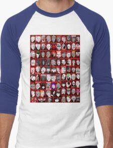 Faces of Horror Collage art Men's Baseball ¾ T-Shirt