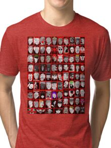 Faces of Horror Collage art Tri-blend T-Shirt