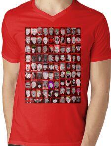 Faces of Horror Collage art Mens V-Neck T-Shirt
