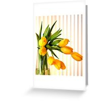 Still life in yellow tulips Greeting Card