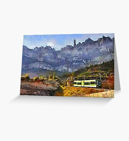 The Cremallera de Montserrat, Spain (digitally painted version) Greeting Card