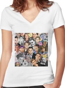 Leonardo DiCaprio Collage Women's Fitted V-Neck T-Shirt
