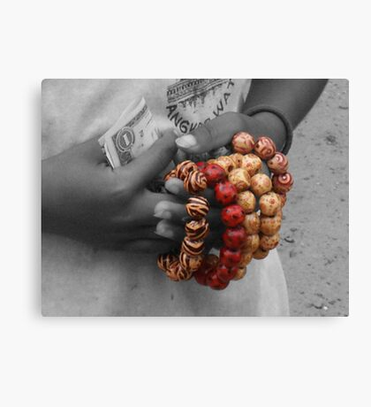 The Girl With The Beads Canvas Print