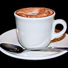 Cappuccino in white cup &amp; saucer by Heather  McCann