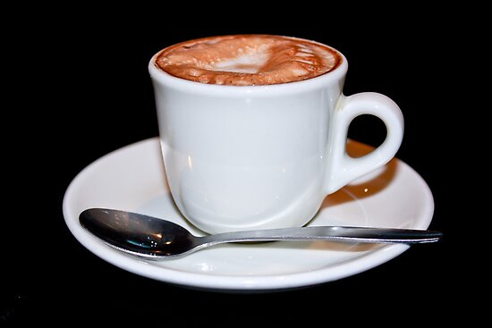 Cappuccino in white cup & saucer by Heather  McCann