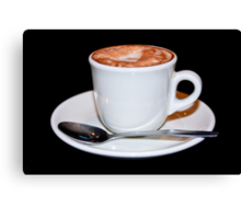 Cappuccino in white cup & saucer Canvas Print