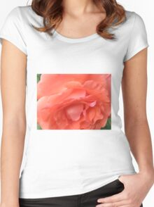 Macro of a Peach Rose in Full Bloom: Hope You Enjoy  Women's Fitted Scoop T-Shirt