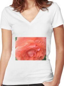 Macro of a Peach Rose in Full Bloom: Hope You Enjoy  Women's Fitted V-Neck T-Shirt