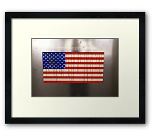 NYC subway car flag Framed Print