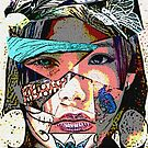 Female Face Fragments Collage by GrimDork