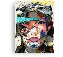 Female Face Fragments Collage Canvas Print