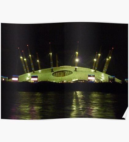 The O2 arena taken from the Thames Poster