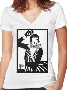 The female Scream, black and white Vector Art Women's Fitted V-Neck T-Shirt