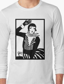 The female Scream, black and white Vector Art Long Sleeve T-Shirt